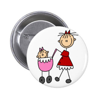 Mom And Baby Stick Figures Button