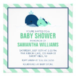 Mom and Baby Whale Baby Shower {green} Invitations