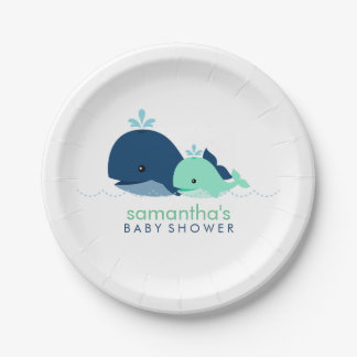 Mom and Baby Whale Baby Shower {green} Paper Plate