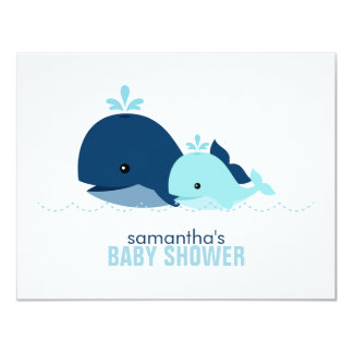 Mom and Baby Whale Mom Advice Cards {blue} Invite
