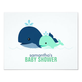 Mom and Baby Whale Mom Advice Cards {green} Announcement