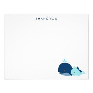 Mom and Baby Whale Thank You Notes blue Custom Invitations