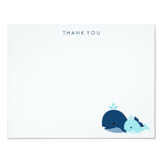 Mom and Baby Whale Thank You Notes {blue} Custom Invitations