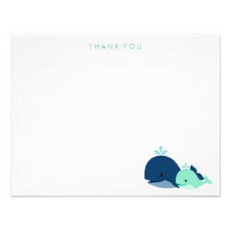Mom and Baby Whale Thank You Notes green Custom Invitations