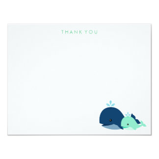 """Mom and Baby Whale Thank You Notes {green} 4.25"""" X 5.5"""" Invitation Card"""