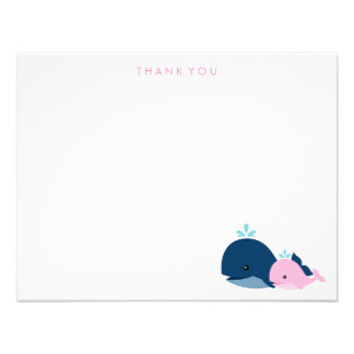 Mom and Baby Whale Thank You Notes pink Custom Announcements