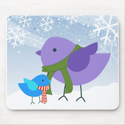Mom and Baby Winter Holiday Birds Mousepads