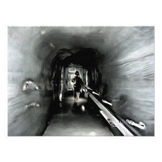 Mom and child inside an ice tunnel photo print