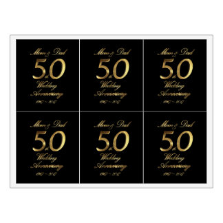 Mom and Dad Golden Wedding Anniversary 50th Wine Label