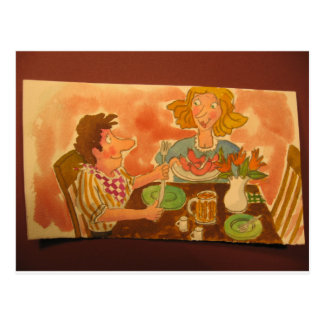 mom and dad love each other, hot dogs, too postcard