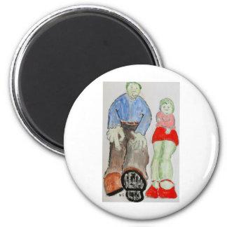 Mom and Pop 6 Cm Round Magnet