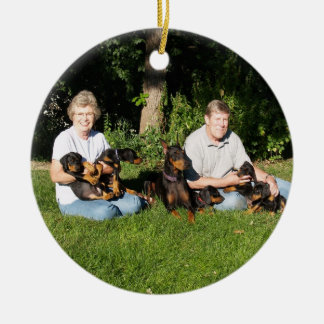 Mom and pup doberman ornament