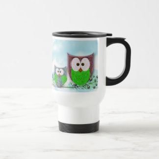 Mom and son owl design stainless steel travel mug