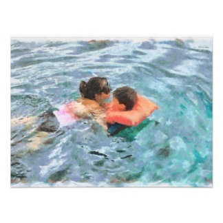 Mom and son swimming art photo