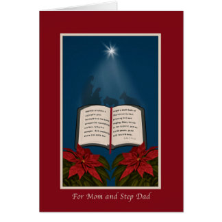 Mom and Step Dad, Open Bible Christmas Message Greeting Card