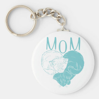 Mom and Two Heart Cats Keychain