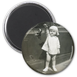 Mom as Tot Standing on Car Running Board Magnet