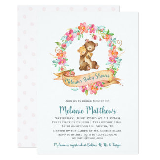Mom Baby Bear Watercolor Floral Wreath Baby Shower Card