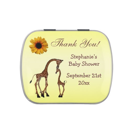 Mom & Baby Giraffe Baby Shower Thank You Favor Jelly Belly Tins