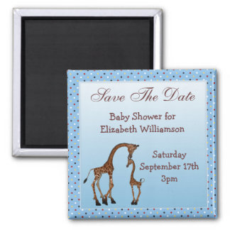 Mom & Baby Giraffe Blue Save the Date Baby Shower Square Magnet