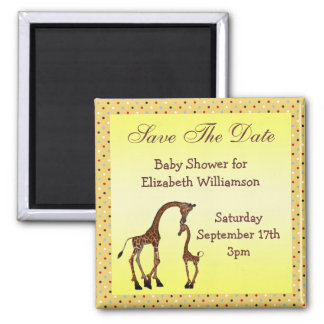 Mom & Baby Giraffe Save the Date Baby Shower Square Magnet