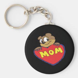 Mom Basic Round Button Key Ring