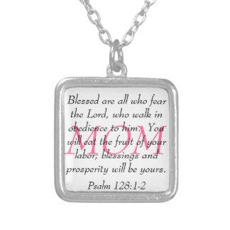 Mom bible verse Psalm 128:1-2 Square Pendant Necklace