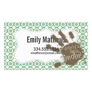 Mom; Blue-Green & Cream Floral Pack Of Standard Business Cards