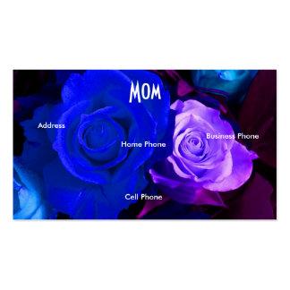 Mom Blue Purple Roses Profile Card Business Card Template