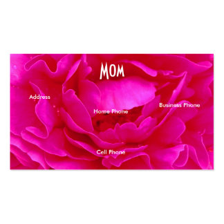 Mom Bright Green Pink Rose Profile Card Business Cards