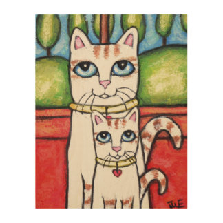 Mom Cat with Kitten Whimsical Wood Wall Art Wood Canvases