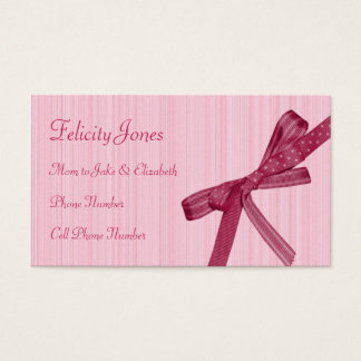 Mom & Children Business Card - Pink Ribbon