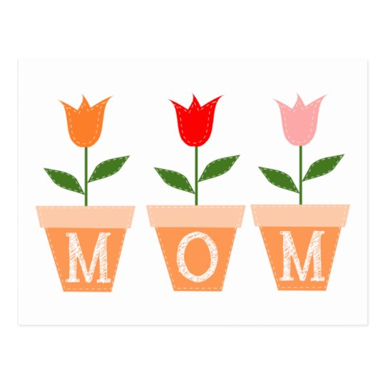 MOM (Colourful Tulips in Clay Flower Pots) Postcard
