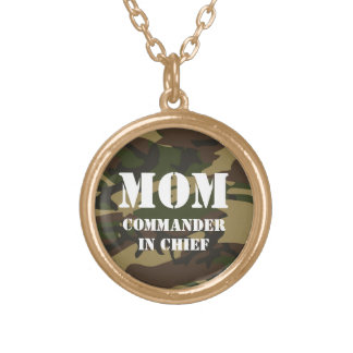 Mom, commander in chief round pendant necklace