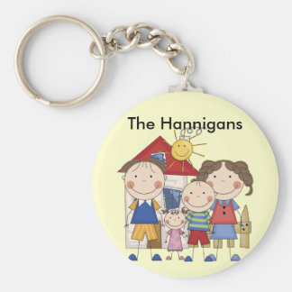 Mom, Dad, Big Boy, Small Girl Family Basic Round Button Key Ring