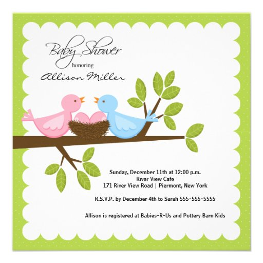Mom Dad Birds with TWINGirls Multiple Baby Shower Announcements