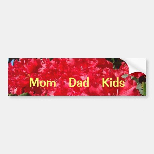 Mom Dad Kids bumper stickers Red Rhodies