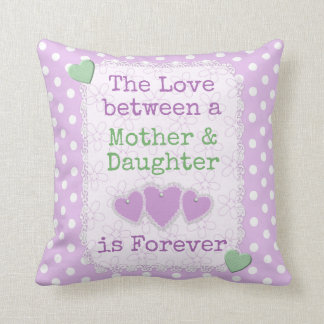 Mom daughter  lilac polka dots cushion