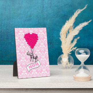 Mom, elephant and heart balloons plaque