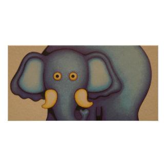 mom elephant customized photo card
