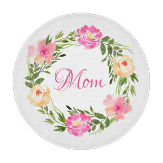 Mom Feminine Floral Mum Personalized Watercolor Cutting Board