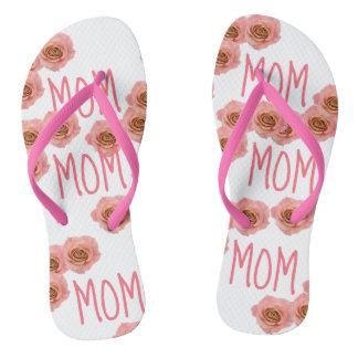 """""""MOM"""" Flip Flops Pink Floral"""