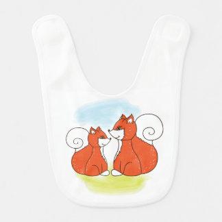Mom fox with baby fox bib