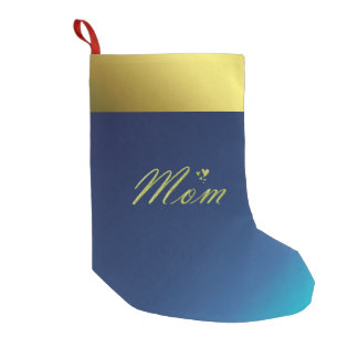 mom golden text in blue christmas stocking