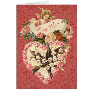 Mom, Happy Valentine's Day, vintage angel, roses Greeting Card