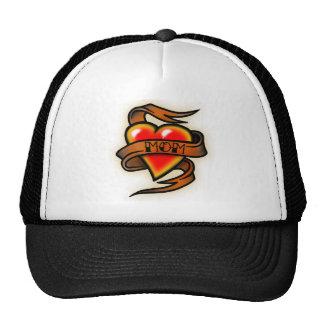 mom hart tattoo mesh hats