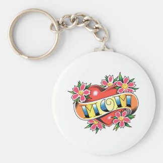 MOM HEART BASIC ROUND BUTTON KEY RING
