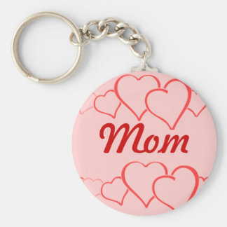 Mom Heart Chain Basic Round Button Key Ring