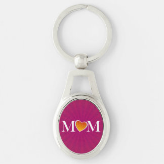 Mom Heart O Fuchsia Silver-Colored Oval Key Ring