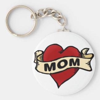 Mom Heart Tattoo Basic Round Button Key Ring